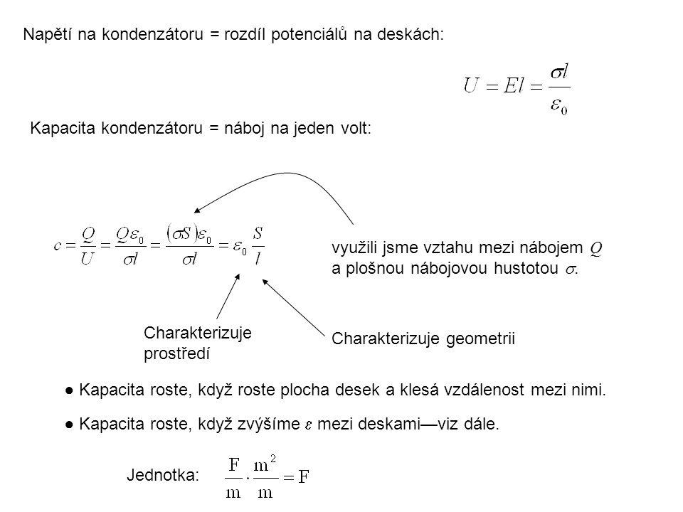 Napětí na kondenzátoru = rozdíl potenciálů na deskách: Kapacita kondenzátoru = náboj na jeden volt: využili jsme vztahu mezi nábojem Q a plošnou náboj