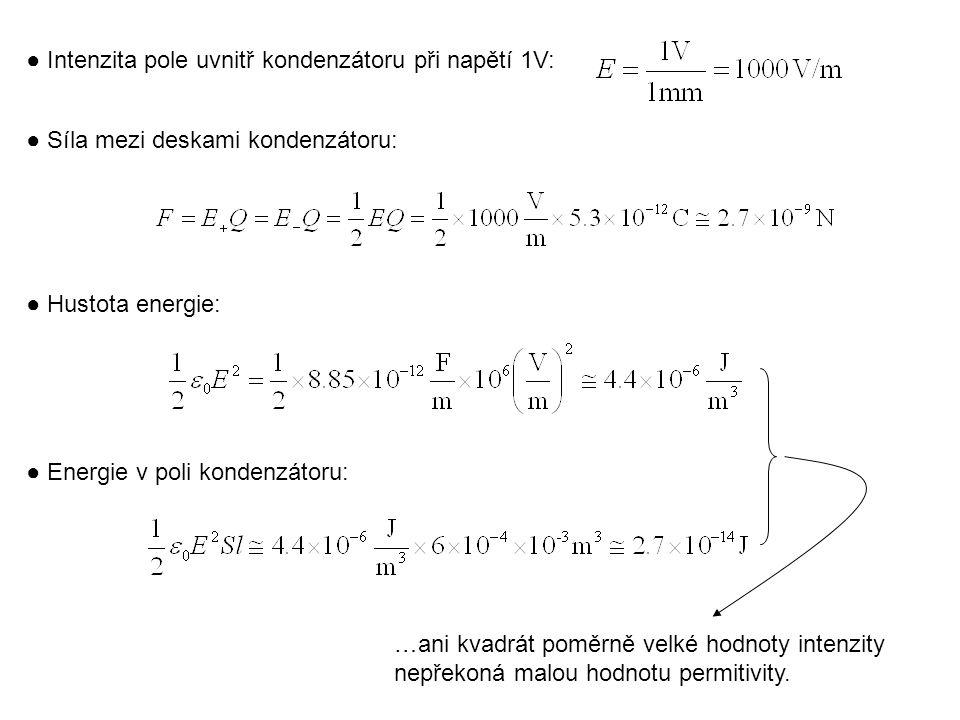 ● Intenzita pole uvnitř kondenzátoru při napětí 1V: ● Síla mezi deskami kondenzátoru: ● Hustota energie: ● Energie v poli kondenzátoru: …ani kvadrát poměrně velké hodnoty intenzity nepřekoná malou hodnotu permitivity.