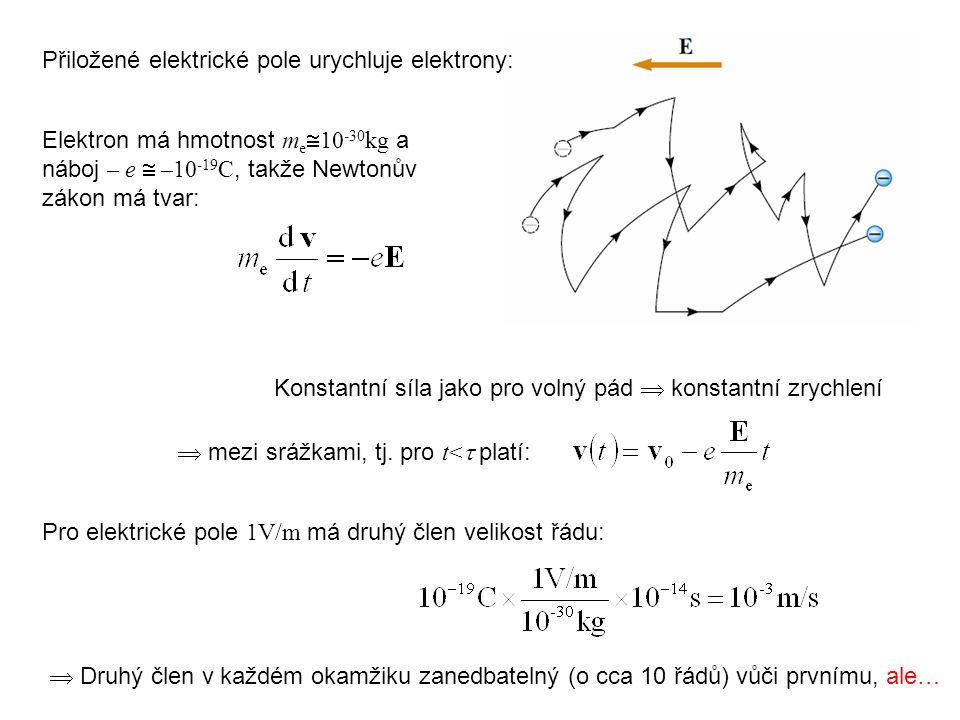 Přiložené elektrické pole urychluje elektrony: Konstantní síla jako pro volný pád  konstantní zrychlení  mezi srážkami, tj. pro t<  platí: Pro elek
