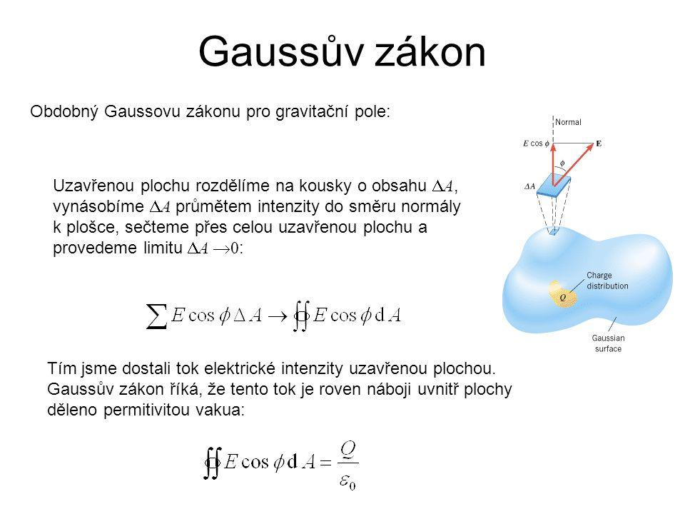 Obdobný Gaussovu zákonu pro gravitační pole: Uzavřenou plochu rozdělíme na kousky o obsahu  A, vynásobíme  A průmětem intenzity do směru normály k plošce, sečteme přes celou uzavřenou plochu a provedeme limitu  A  0 : Tím jsme dostali tok elektrické intenzity uzavřenou plochou.