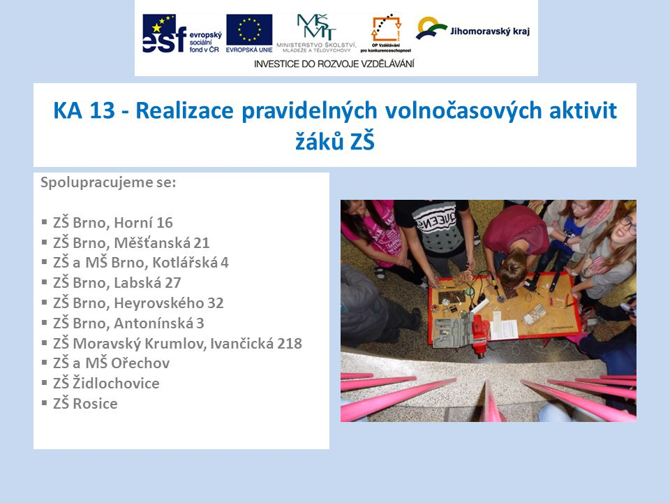 KA 13 - Realizace pravidelných volnočasových aktivit žáků ZŠ