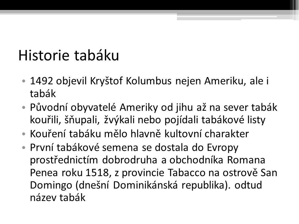 Tabák V Čechách jsou první zmínky o tabáku datovány do konce 16.