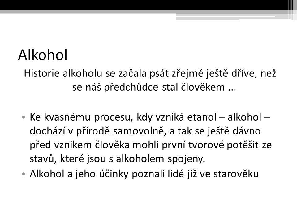 Alkohol Historie alkoholu se začala psát zřejmě ještě dříve, než se náš předchůdce stal člověkem...