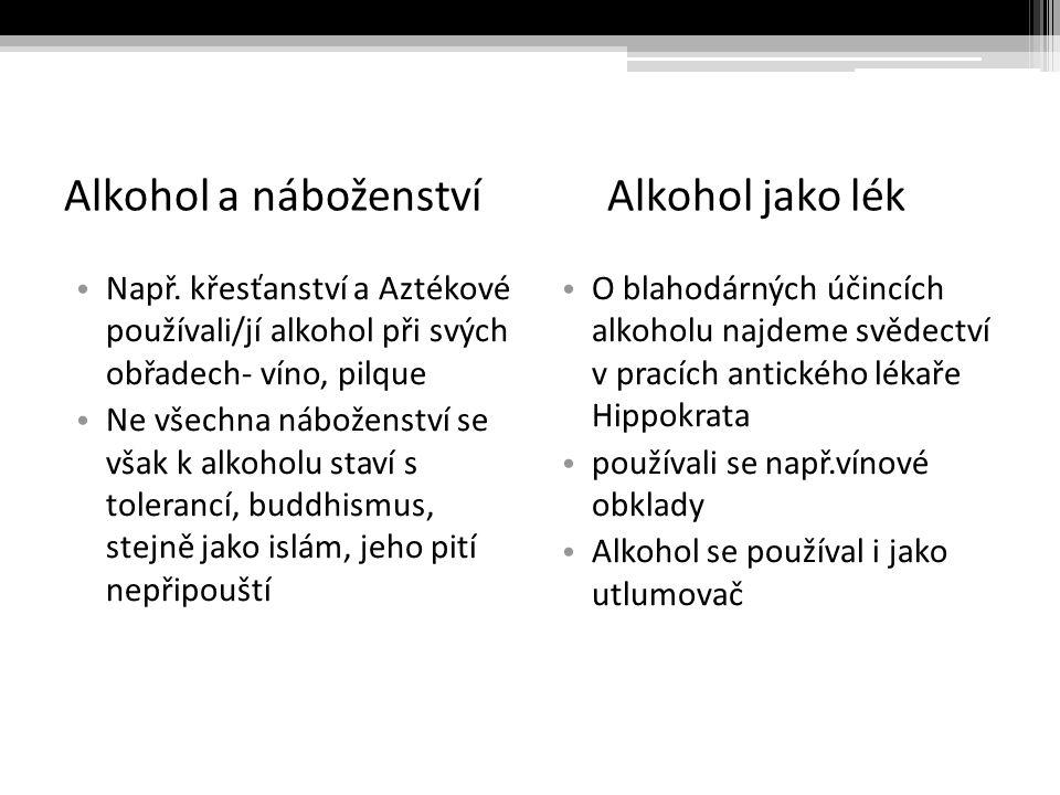 Alkohol a náboženství Alkohol jako lék Např.