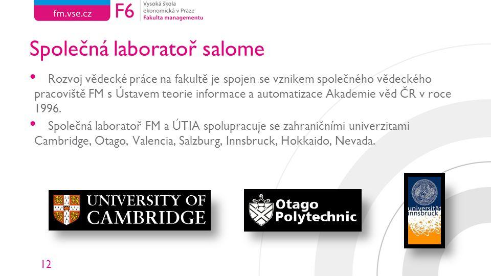 12 Společná laboratoř salome Rozvoj vědecké práce na fakultě je spojen se vznikem společného vědeckého pracoviště FM s Ústavem teorie informace a automatizace Akademie věd ČR v roce 1996.