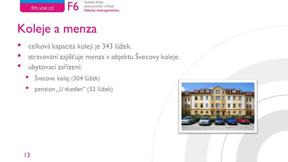 13 Koleje a menza celková kapacita kolejí je 343 lůžek. stravování zajišťuje menza v objektu Švecovy koleje. ubytovací zařízení: Švecova kolej (304 lů