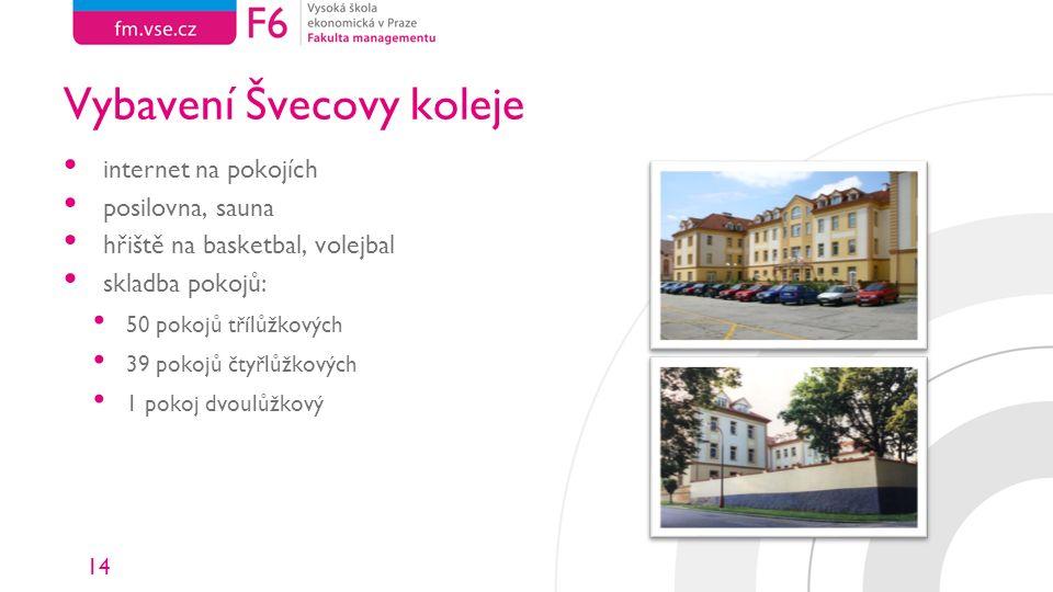 14 Vybavení Švecovy koleje internet na pokojích posilovna, sauna hřiště na basketbal, volejbal skladba pokojů: 50 pokojů třílůžkových 39 pokojů čtyřlůžkových 1 pokoj dvoulůžkový