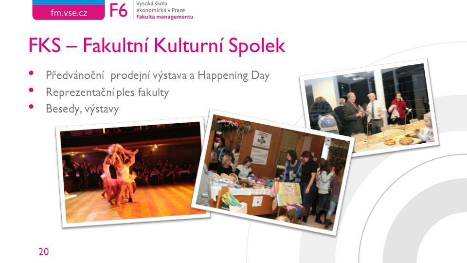 20 FKS – Fakultní Kulturní Spolek Předvánoční prodejní výstava a Happening Day Reprezentační ples fakulty Besedy, výstavy