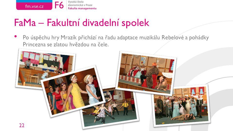 22 FaMa – Fakultní divadelní spolek Po úspěchu hry Mrazík přichází na řadu adaptace muzikálu Rebelové a pohádky Princezna se zlatou hvězdou na čele.