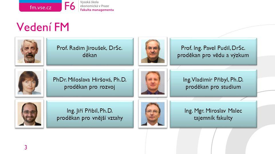 3 Vedení FM Prof. Radim Jiroušek, DrSc. děkan Prof. Radim Jiroušek, DrSc. děkan PhDr. Miloslava Hiršová, Ph.D. proděkan pro rozvoj PhDr. Miloslava Hir