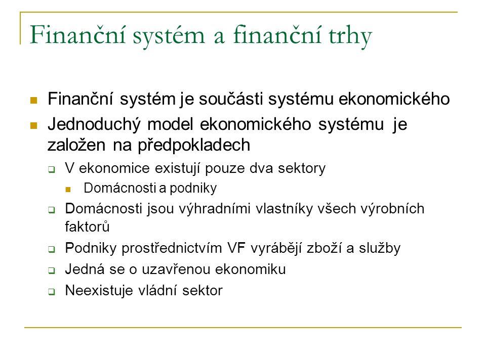 Finanční systém a finanční trhy Finanční systém je součásti systému ekonomického Jednoduchý model ekonomického systému je založen na předpokladech  V ekonomice existují pouze dva sektory Domácnosti a podniky  Domácnosti jsou výhradními vlastníky všech výrobních faktorů  Podniky prostřednictvím VF vyrábějí zboží a služby  Jedná se o uzavřenou ekonomiku  Neexistuje vládní sektor
