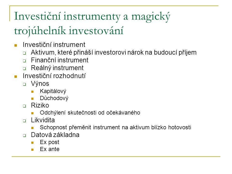 Investiční instrumenty a magický trojúhelník investování Investiční instrument  Aktivum, které přináší investorovi nárok na budoucí příjem  Finanční instrument  Reálný instrument Investiční rozhodnutí  Výnos Kapitálový Důchodový  Riziko Odchýlení skutečnosti od očekávaného  Likvidita Schopnost přeměnit instrument na aktivum blízko hotovosti  Datová základna Ex post Ex ante