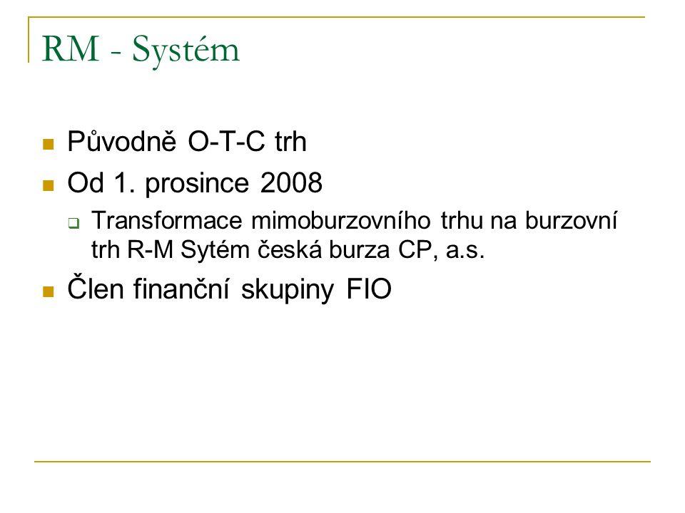 RM - Systém Původně O-T-C trh Od 1. prosince 2008  Transformace mimoburzovního trhu na burzovní trh R-M Sytém česká burza CP, a.s. Člen finanční skup