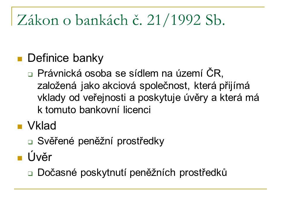 Zákon o bankách č. 21/1992 Sb. Definice banky  Právnická osoba se sídlem na území ČR, založená jako akciová společnost, která přijímá vklady od veřej