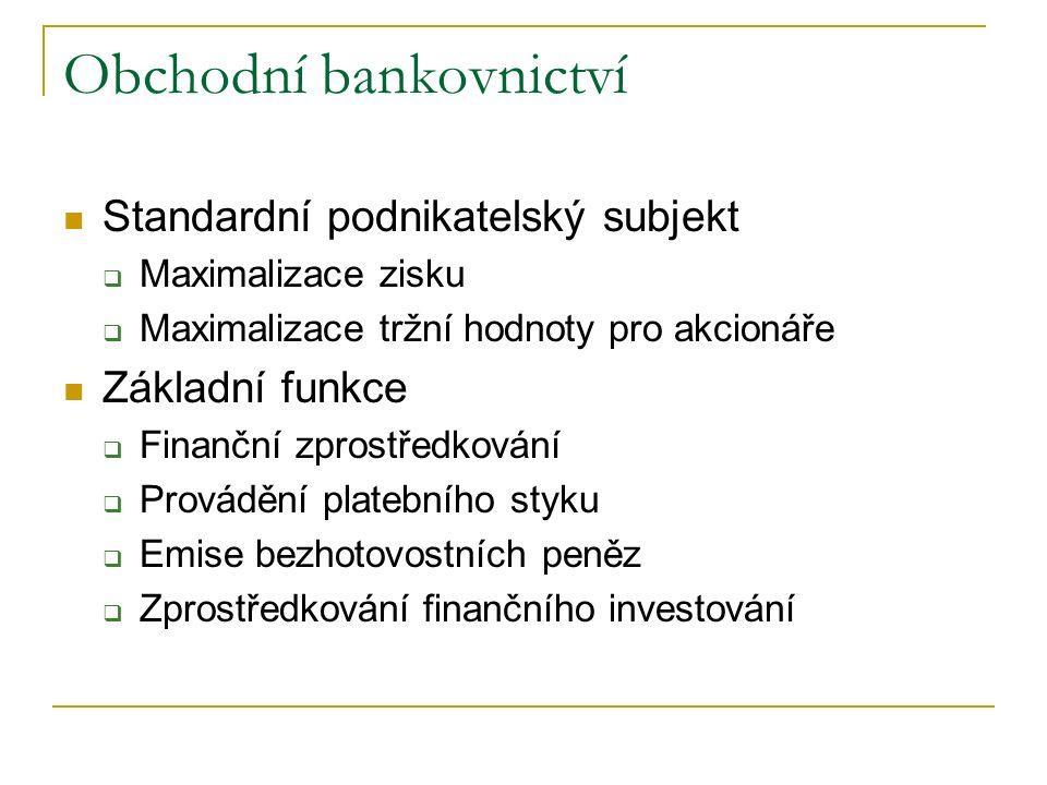Obchodní bankovnictví Standardní podnikatelský subjekt  Maximalizace zisku  Maximalizace tržní hodnoty pro akcionáře Základní funkce  Finanční zprostředkování  Provádění platebního styku  Emise bezhotovostních peněz  Zprostředkování finančního investování