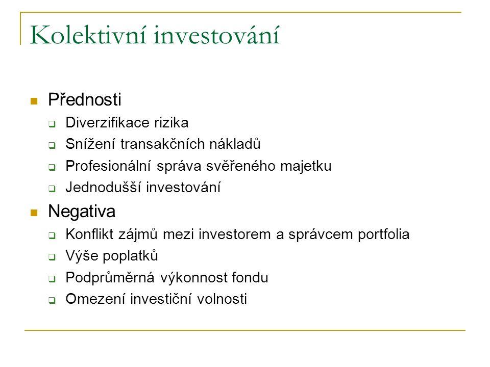Kolektivní investování Přednosti  Diverzifikace rizika  Snížení transakčních nákladů  Profesionální správa svěřeného majetku  Jednodušší investování Negativa  Konflikt zájmů mezi investorem a správcem portfolia  Výše poplatků  Podprůměrná výkonnost fondu  Omezení investiční volnosti
