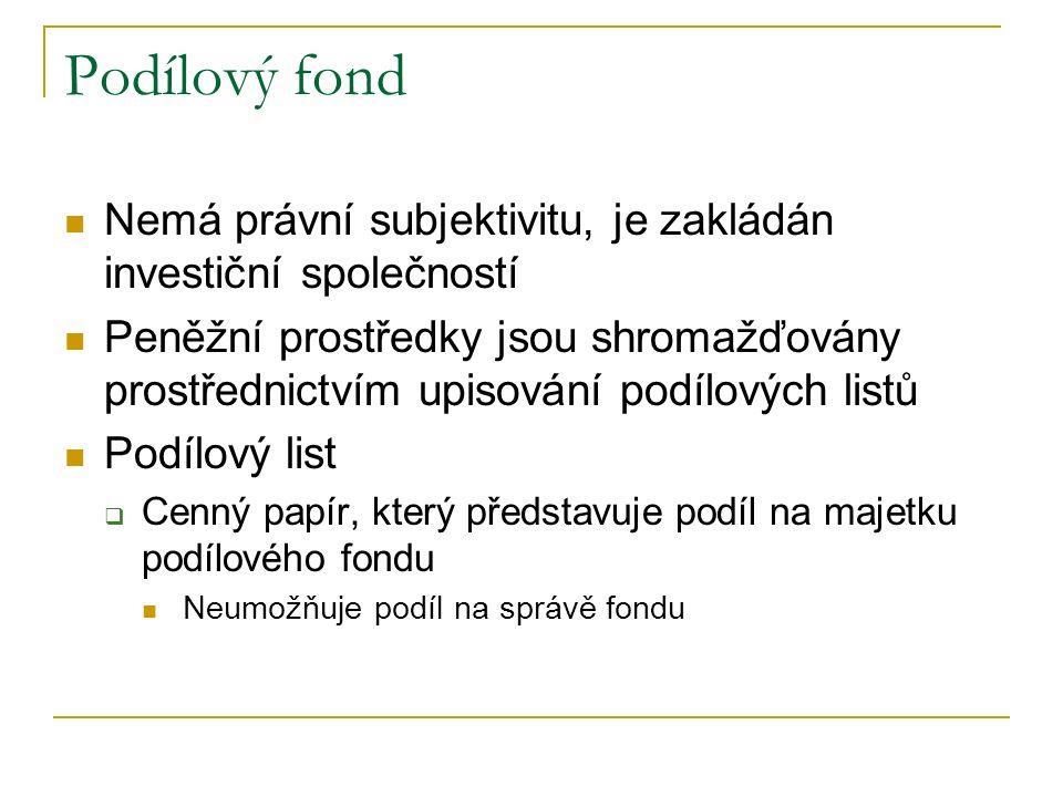 Podílový fond Nemá právní subjektivitu, je zakládán investiční společností Peněžní prostředky jsou shromažďovány prostřednictvím upisování podílových listů Podílový list  Cenný papír, který představuje podíl na majetku podílového fondu Neumožňuje podíl na správě fondu