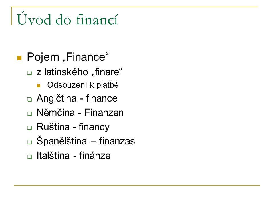 """Pojem """"Finance""""  z latinského """"finare"""" Odsouzení k platbě  Angičtina - finance  Němčina - Finanzen  Ruština - financy  Španělština – finanzas  I"""