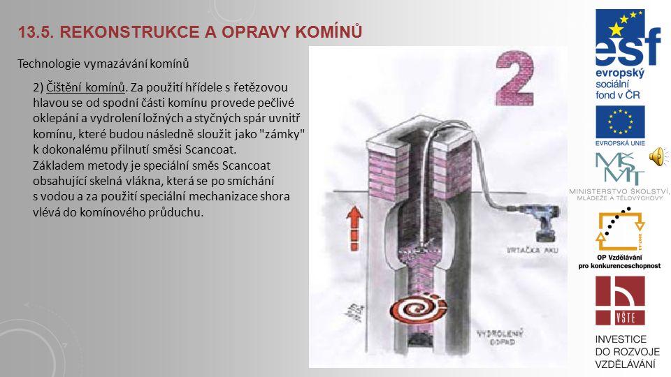 13.5.REKONSTRUKCE A OPRAVY KOMÍNŮ Technologie vymazávání komínů 1) Prohlídka komínu.