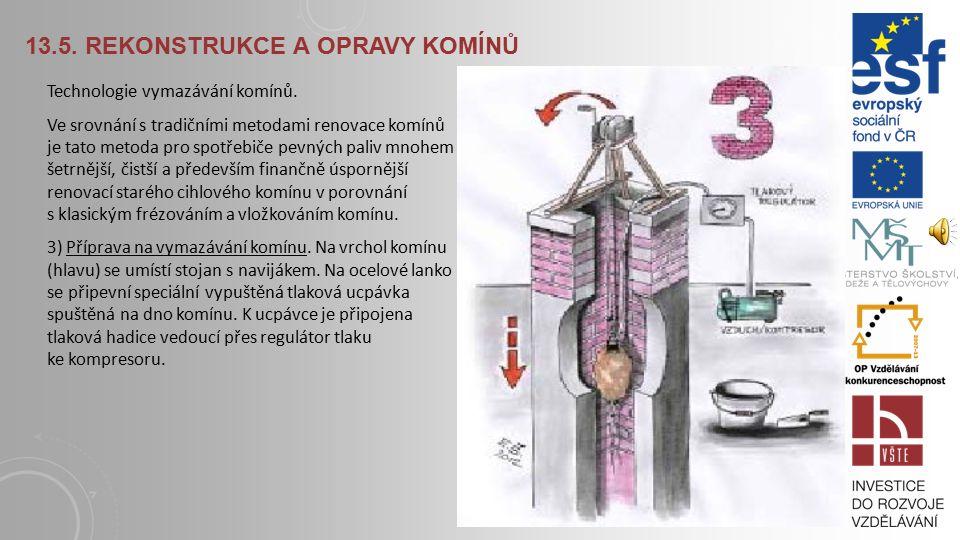13.5.REKONSTRUKCE A OPRAVY KOMÍNŮ Technologie vymazávání komínů 2) Čištění komínů.