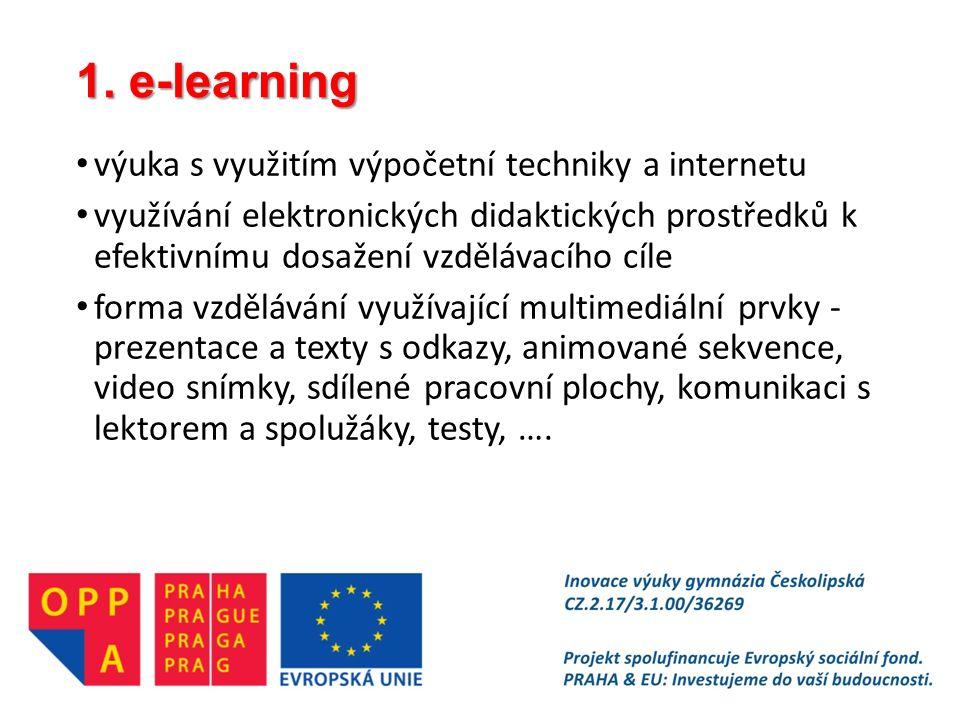 1. e-learning výuka s využitím výpočetní techniky a internetu využívání elektronických didaktických prostředků k efektivnímu dosažení vzdělávacího cíl