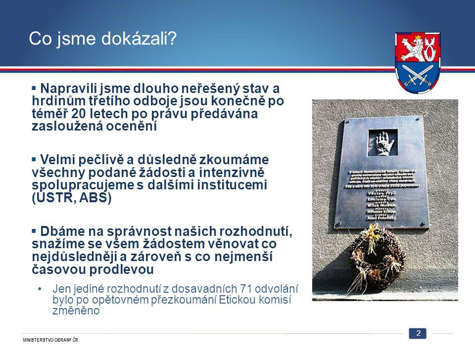 MINISTERSTVO OBRANY ČR 2 Co jsme dokázali.