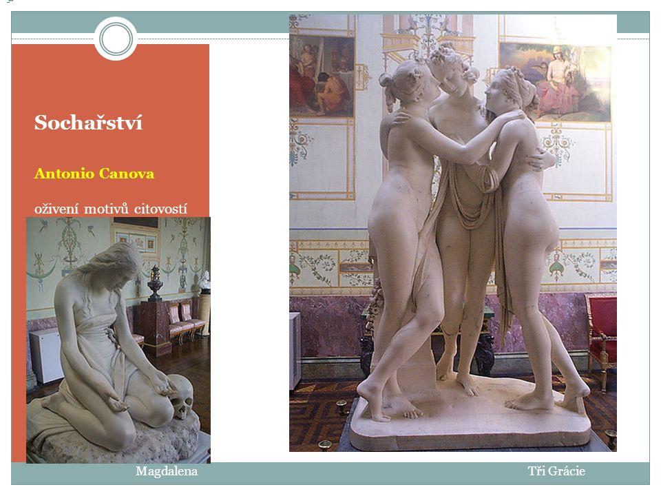 Sochařství Antonio Canova klasicistní pohled na lidské tělo - antika Le Panthéon de Paris Le Panthéon de Paris Napoleonova sestra Paolina Borgese jako VenušeThéseus bojuje s Kentaurem