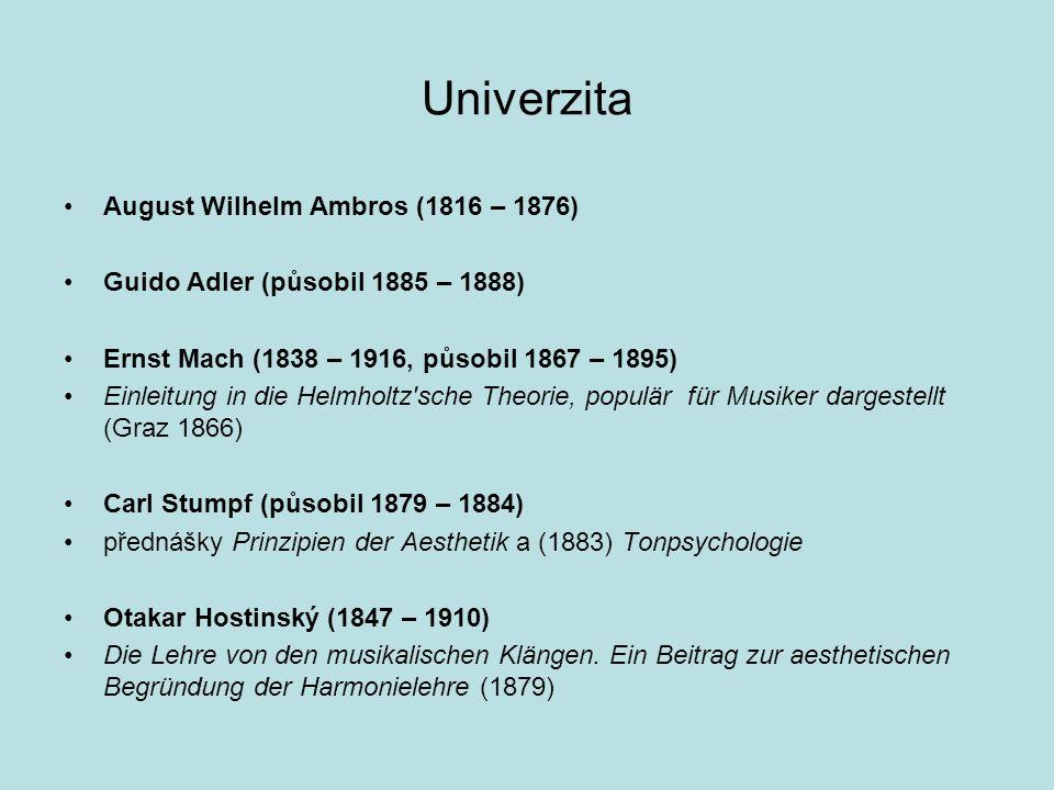 Univerzita August Wilhelm Ambros (1816 – 1876) Guido Adler (působil 1885 – 1888) Ernst Mach (1838 – 1916, působil 1867 – 1895) Einleitung in die Helmh