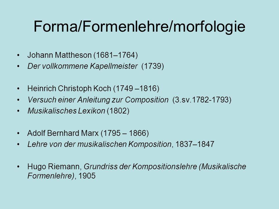Forma/Formenlehre/morfologie Johann Mattheson (1681–1764) Der vollkommene Kapellmeister (1739) Heinrich Christoph Koch (1749 –1816) Versuch einer Anle