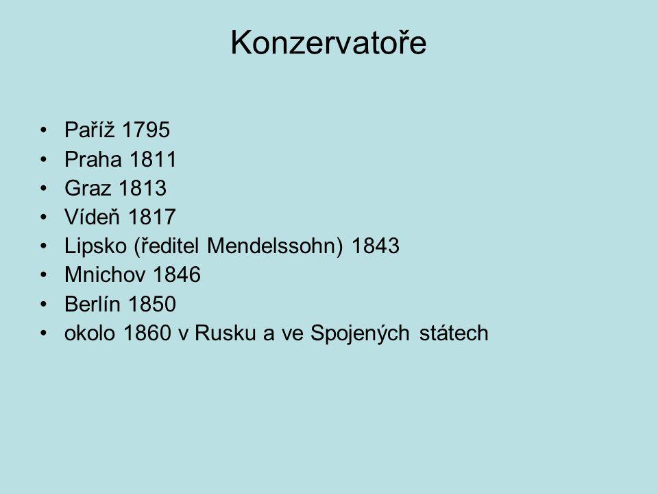 Konzervatoře Paříž 1795 Praha 1811 Graz 1813 Vídeň 1817 Lipsko (ředitel Mendelssohn) 1843 Mnichov 1846 Berlín 1850 okolo 1860 v Rusku a ve Spojených s
