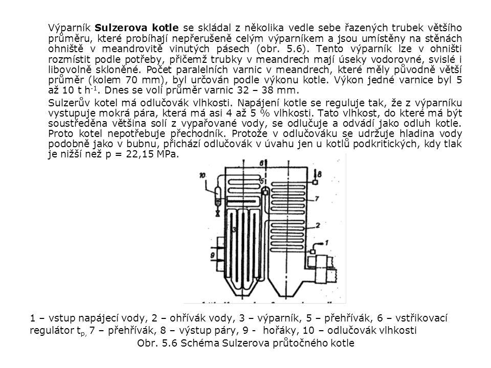 Výparník Sulzerova kotle se skládal z několika vedle sebe řazených trubek většího průměru, které probíhají nepřerušeně celým výparníkem a jsou umístěny na stěnách ohniště v meandrovitě vinutých pásech (obr.