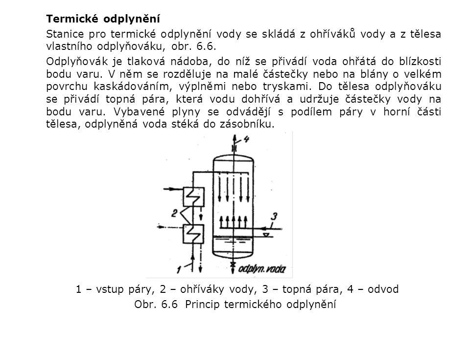 Termické odplynění Stanice pro termické odplynění vody se skládá z ohříváků vody a z tělesa vlastního odplyňováku, obr.