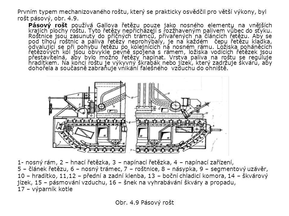 Prvním typem mechanizovaného roštu, který se prakticky osvědčil pro větší výkony, byl rošt pásový, obr.