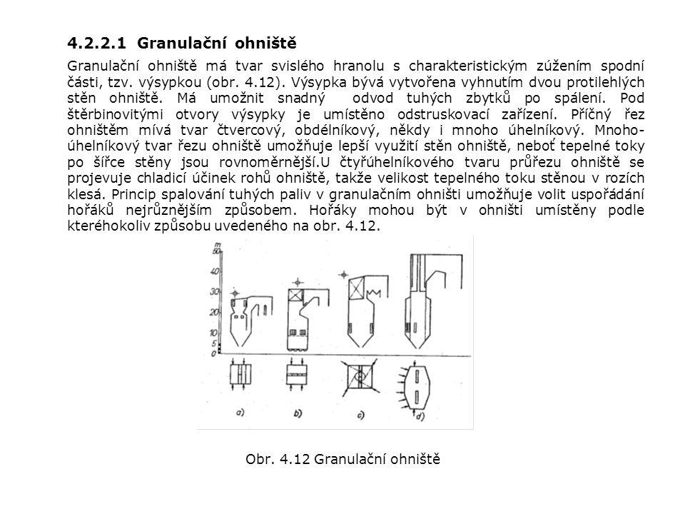 4.2.2.1 Granulační ohniště Granulační ohniště má tvar svislého hranolu s charakteristickým zúžením spodní části, tzv.