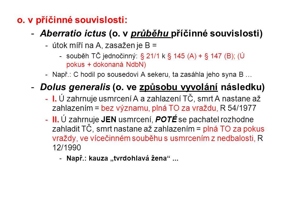 o. v příčinné souvislosti: -Aberratio ictus (o. v průběhu příčinné souvislosti) -útok míří na A, zasažen je B = -souběh TČ jednočinný: § 21/1 k § 145