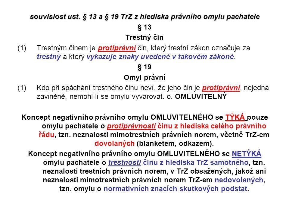 souvislost ust. § 13 a § 19 TrZ z hlediska právního omylu pachatele § 13 Trestný čin (1)Trestným činem je protiprávní čin, který trestní zákon označuj