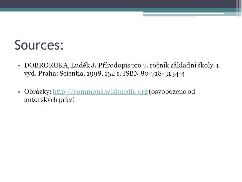 Sources: DOBRORUKA, Luděk J. Přírodopis pro 7. ročník základní školy. 1. vyd. Praha: Scientia, 1998, 152 s. ISBN 80-718-3134-4 Obrázky: http://commons