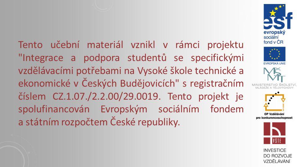 KAPITOLA 12: PLASTICKÉ HMOTY Vysoká škola technická a ekonomická v Českých Budějovicích Institute of Technology And Business In České Budějovice