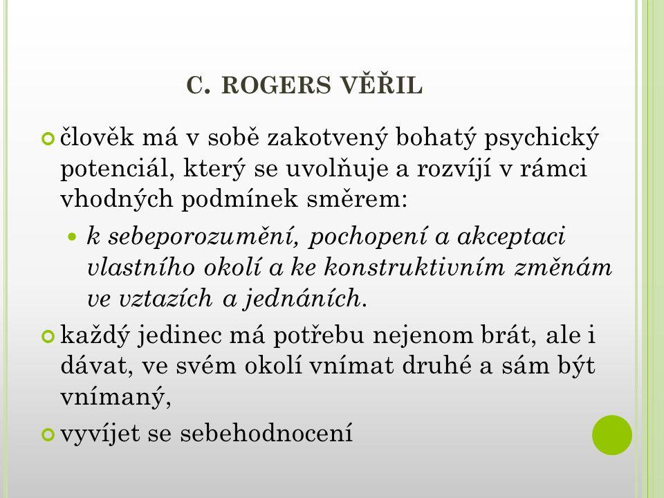 C. ROGERS VĚŘIL člověk má v sobě zakotvený bohatý psychický potenciál, který se uvolňuje a rozvíjí v rámci vhodných podmínek směrem: k sebeporozumění,