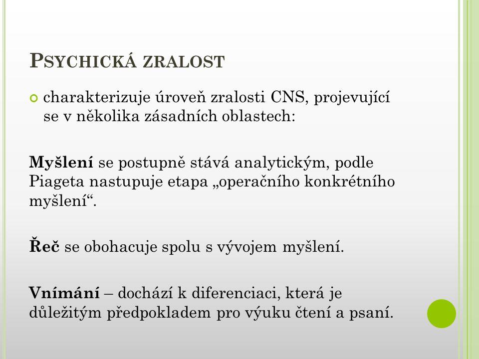 P SYCHICKÁ ZRALOST charakterizuje úroveň zralosti CNS, projevující se v několika zásadních oblastech: Myšlení se postupně stává analytickým, podle Pia