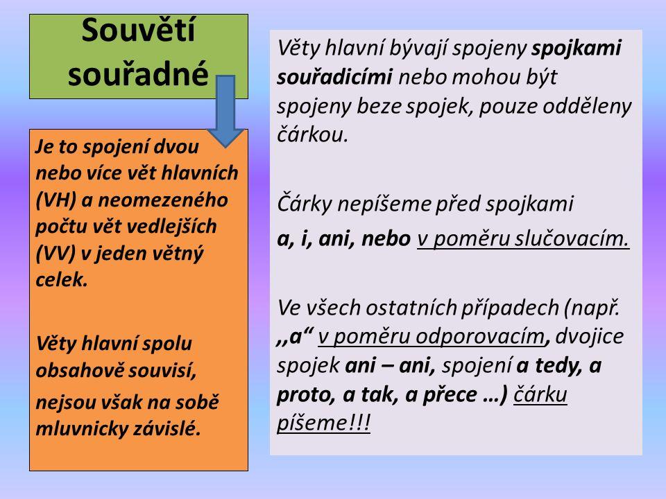 Souvětí souřadné Věty hlavní bývají spojeny spojkami souřadicími nebo mohou být spojeny beze spojek, pouze odděleny čárkou.
