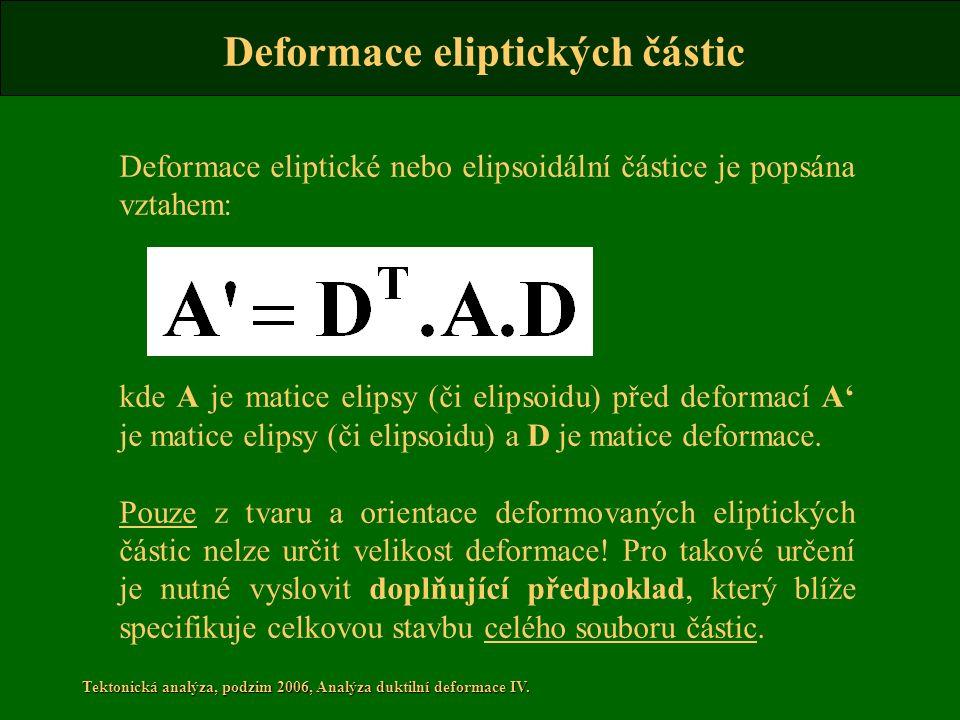 Tektonická analýza, podzim 2006, Analýza duktilní deformace IV. Deformace eliptické nebo elipsoidální částice je popsána vztahem: kde A je matice elip