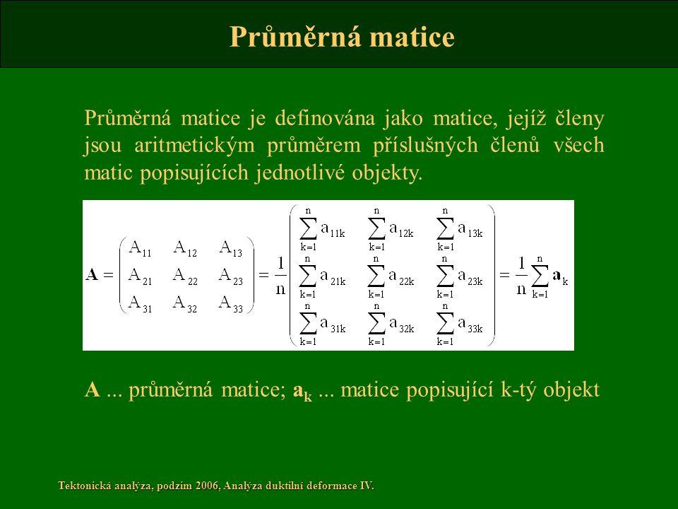Tektonická analýza, podzim 2006, Analýza duktilní deformace IV. Průměrná matice je definována jako matice, jejíž členy jsou aritmetickým průměrem přís