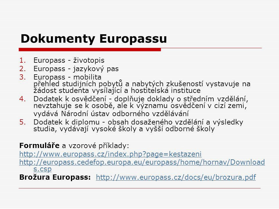 Dokumenty Europassu 1.Europass - životopis 2.Europass - jazykový pas 3.Europass - mobilita přehled studijních pobytů a nabytých zkušeností vystavuje n