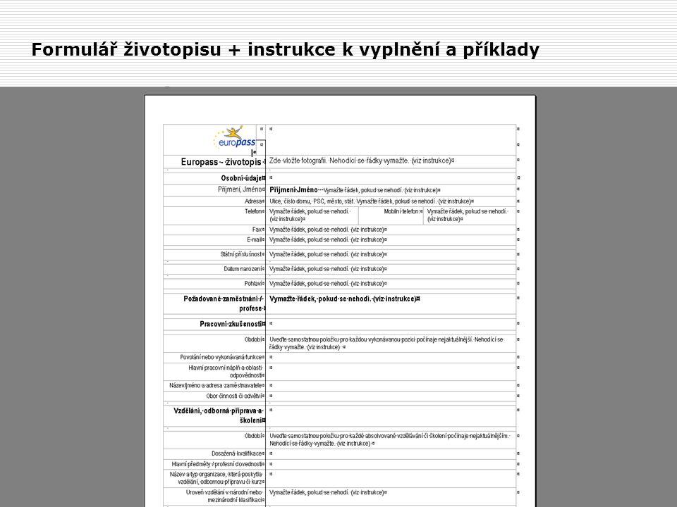 Formulář životopisu + instrukce k vyplnění a příklady