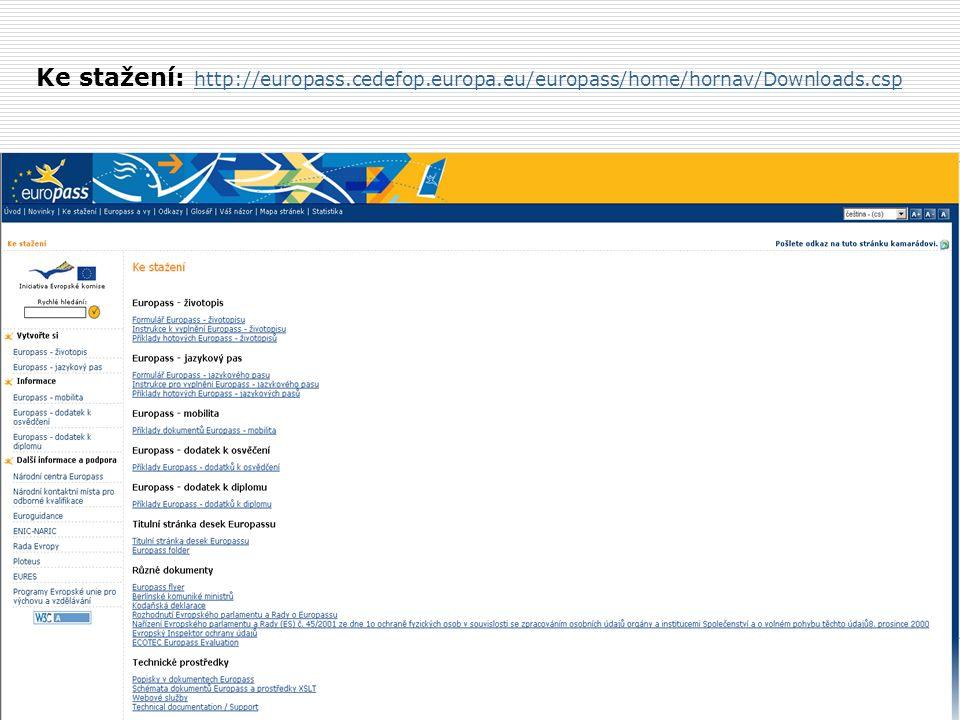 Ke stažení: http://europass.cedefop.europa.eu/europass/home/hornav/Downloads.csp http://europass.cedefop.europa.eu/europass/home/hornav/Downloads.csp
