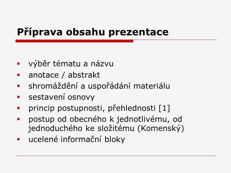Příprava obsahu prezentace  výběr tématu a názvu  anotace / abstrakt  shromáždění a uspořádání materiálu  sestavení osnovy  princip postupnosti,