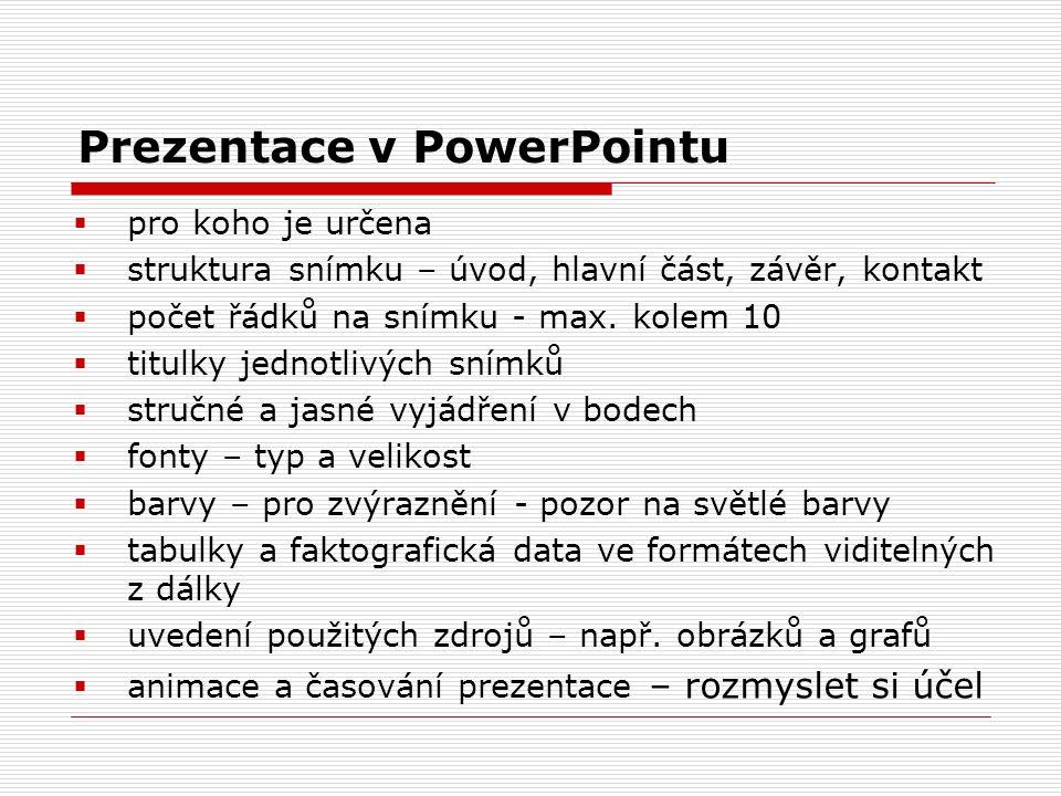 Prezentace v PowerPointu  pro koho je určena  struktura snímku – úvod, hlavní část, závěr, kontakt  počet řádků na snímku - max. kolem 10  titulky