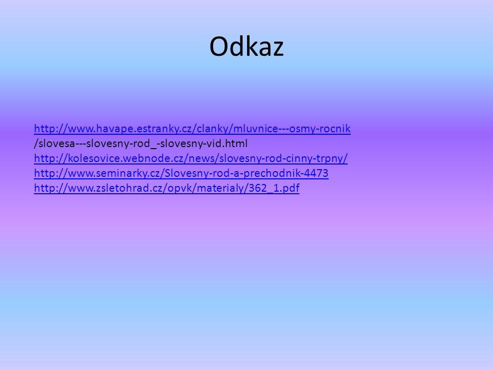Odkaz http://www.havape.estranky.cz/clanky/mluvnice---osmy-rocnik /slovesa---slovesny-rod_-slovesny-vid.html http://kolesovice.webnode.cz/news/slovesny-rod-cinny-trpny/ http://www.seminarky.cz/Slovesny-rod-a-prechodnik-4473 http://www.zsletohrad.cz/opvk/materialy/362_1.pdf