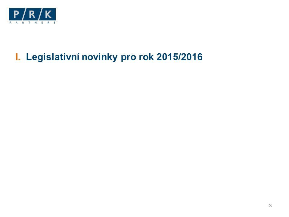 Připravované předpisy ⁄Novela zákoníku práce (205/2015 Sb., od 1.10.2015)  přesunuje úpravu odpovědnosti za PÚ a NzP a ruší zákon o úrazovém pojištění zaměstnanců  sjednocuje možnost ukončení DPP s platným režimem pro DPČ ⁄ Novela zákona o zaměstnanosti (203/2015 Sb., od 1.10.2015)  sjednocuje překážky v pobírání podpory v nezaměstnanosti  nově i pouhá skutečnost, že osoba je členem orgánu obchodní společnosti bude bránit poskytování podpory v nezaměstnanosti – nebude ale bránit evidenci jako uchazeč o zaměstnání  pozměňovací návrhy vložily zavedení tzv.